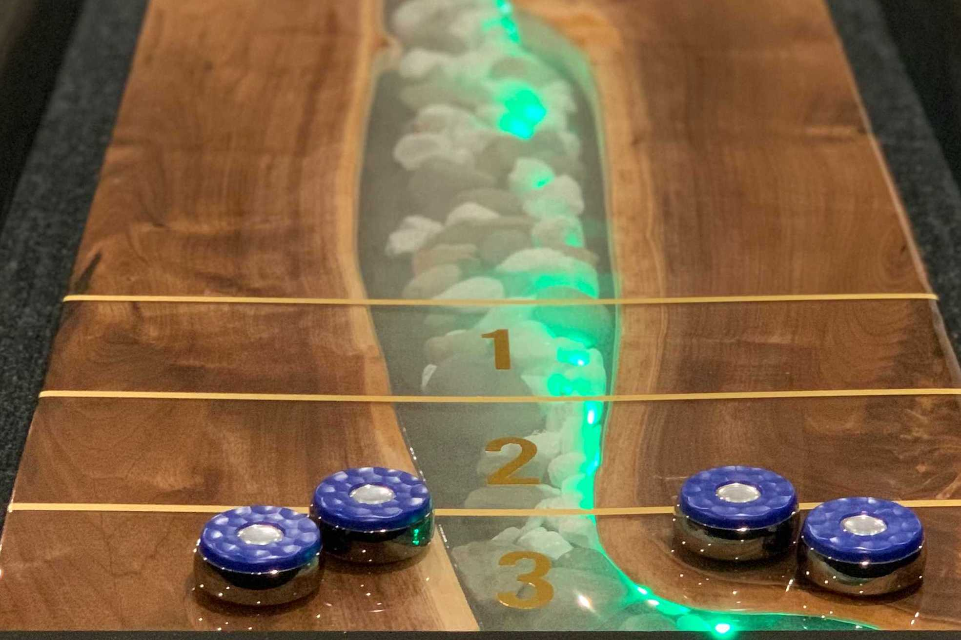 Epoxy Resin River Table - Shuffleboard Style